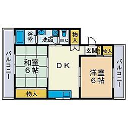 大六天マンション[3階]の間取り