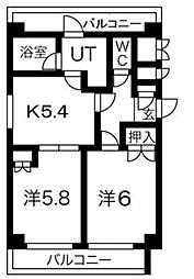 ウェル東林間[2階]の間取り