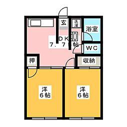 宝積寺コーポ[1階]の間取り