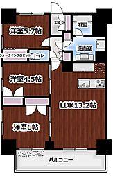東京メトロ丸ノ内線 新宿御苑前駅 徒歩5分の賃貸マンション 16階3LDKの間取り