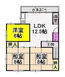 川西住宅[3階]の間取り