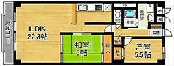 奈良県奈良市三条町の賃貸マンションの間取り