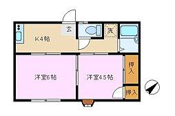 神奈川県横浜市戸塚区舞岡町の賃貸アパートの間取り