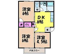 愛媛県松山市和泉北1丁目の賃貸アパートの間取り