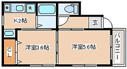 兵庫県神戸市長田区菅原通2丁目の賃貸アパートの間取り