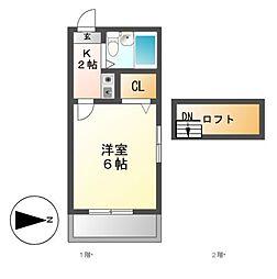 シャトレ八田[2階]の間取り