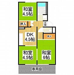 大阪府大阪狭山市池尻自由丘3丁目の賃貸アパートの間取り