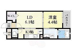 JR東海道・山陽本線 摂津富田駅 徒歩19分の賃貸マンション 1階1LDKの間取り