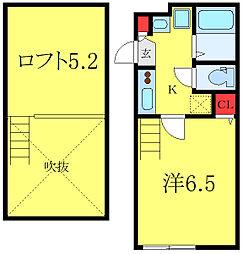 グランクオール板橋本町イーストレジデンス 2階1Kの間取り