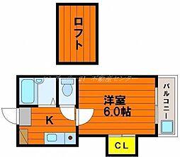 岡山県岡山市北区青江3丁目の賃貸アパートの間取り