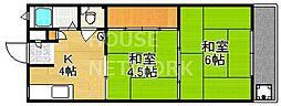 京都府京都市北区小山下総町の賃貸マンションの間取り
