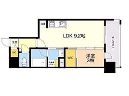 ラクレイス平尾山荘通り 8階1LDKの間取り
