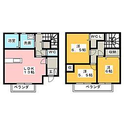 [テラスハウス] 愛知県名古屋市名東区西里町4丁目 の賃貸【愛知県 / 名古屋市名東区】の間取り
