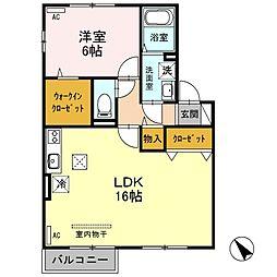 新潟県新潟市江南区梅見台2丁目の賃貸アパートの間取り
