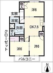 コーポ堀部III[2階]の間取り