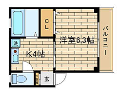 兵庫県神戸市長田区若松町1丁目の賃貸アパートの間取り