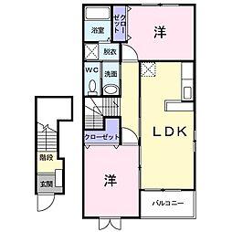 JR津山線 玉柏駅 バス5分 牟佐下下車 徒歩6分の賃貸アパート 2階2LDKの間取り