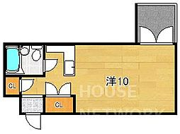 京都市営烏丸線 鞍馬口駅 徒歩3分の賃貸マンション 1階1Kの間取り