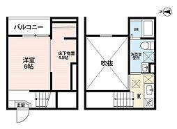 名古屋臨海高速あおなみ線 荒子駅 徒歩8分の賃貸アパート 2階1SKの間取り