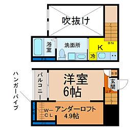 愛知県名古屋市港区新船町4丁目の賃貸アパートの間取り