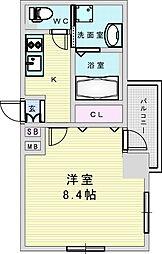 Osaka Metro御堂筋線 新大阪駅 徒歩8分の賃貸マンション 4階1Kの間取り