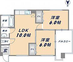 ウェルサイド新日本[4階]の間取り