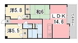 兵庫県姫路市田寺7丁目の賃貸マンションの間取り