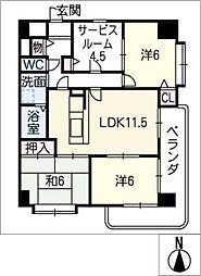 中央マンション名駅 302号室[3階]の間取り