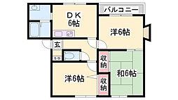 フレール弥生D棟[2階]の間取り