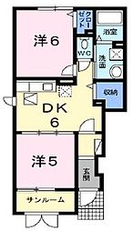 新潟県新潟市北区新崎2丁目の賃貸アパートの間取り