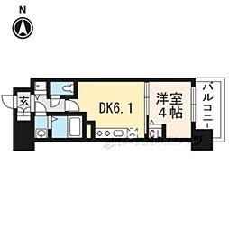 京都地下鉄東西線 太秦天神川駅 徒歩6分の賃貸マンション 6階1DKの間取り