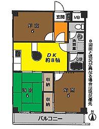 神奈川県茅ヶ崎市浜須賀の賃貸マンションの間取り