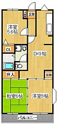 クレスト飯塚[301号室]の間取り