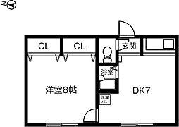 愛知県豊明市間米町間米の賃貸マンションの間取り
