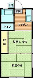 コーポ若竹[1階]の間取り