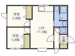 パストラルN48 2階2LDKの間取り
