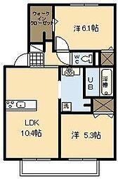 メゾンクレール広瀬A棟[1階]の間取り