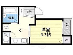 神戸市西神・山手線 上沢駅 徒歩2分の賃貸マンション 2階1Kの間取り