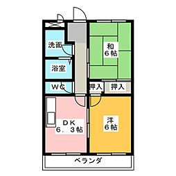上ノ山ハイツIII[1階]の間取り