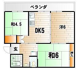 ビレッジハウス日明  3棟[4階]の間取り