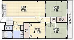 南埜第二マンション[102号室]の間取り
