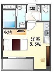 Osaka Metro中央線 阿波座駅 徒歩3分の賃貸マンション 4階ワンルームの間取り