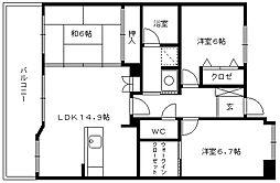 コアマンションフェスティオ久留米[2階]の間取り