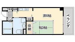 サンライフ尾崎 2階1Kの間取り