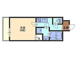 uro 玉造II[3階]の間取り