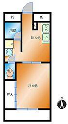 桑田マンション 3階1DKの間取り