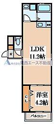 シティーコート徳庵 1階1DKの間取り