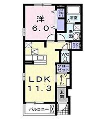 滋賀県近江八幡市北元町の賃貸アパートの間取り
