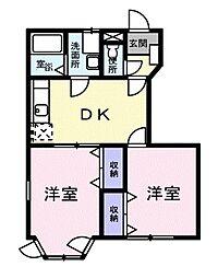 東京都清瀬市下宿2丁目の賃貸アパートの間取り
