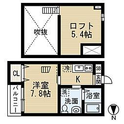 愛知県名古屋市中村区大宮町1丁目の賃貸アパートの間取り